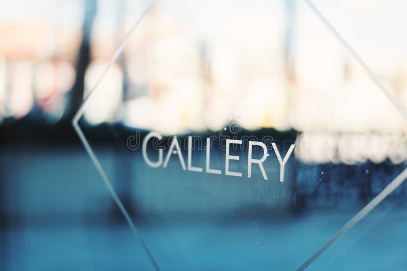Titolo della galleria su vetro fotografia stock