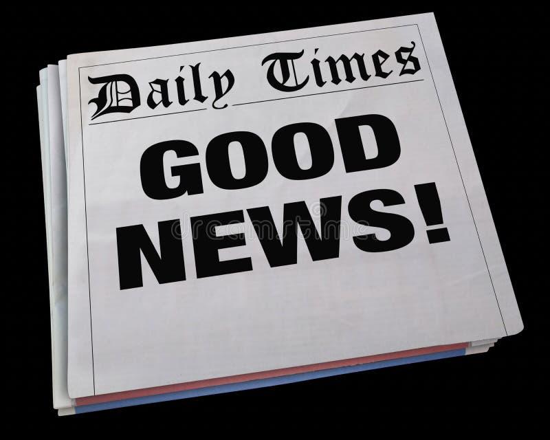 Titolo di giornale di filatura di annuncio di buone notizie 3d Illustrati illustrazione di stock