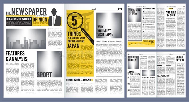 Titolo di giornale Modello della disposizione della stampa della copertura e delle pagine del giornale con progettazione di vetto illustrazione vettoriale