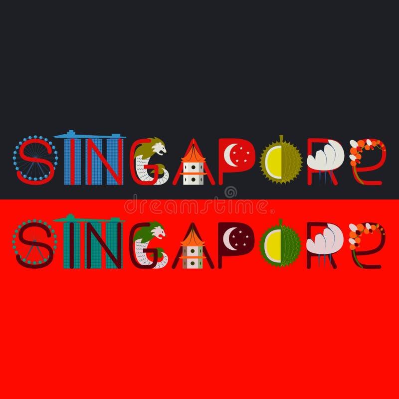 Titolo di Singapore con l'illustrazione fotografie stock