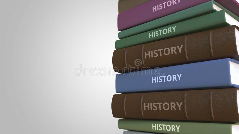 Titolo di STORIA sulla pila di libri, rappresentazione concettuale 3D illustrazione vettoriale