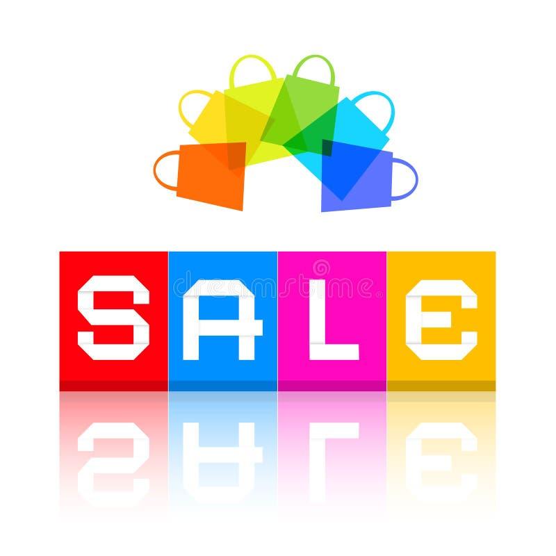 Titolo di vendita e sacchetti della spesa variopinti illustrazione di stock
