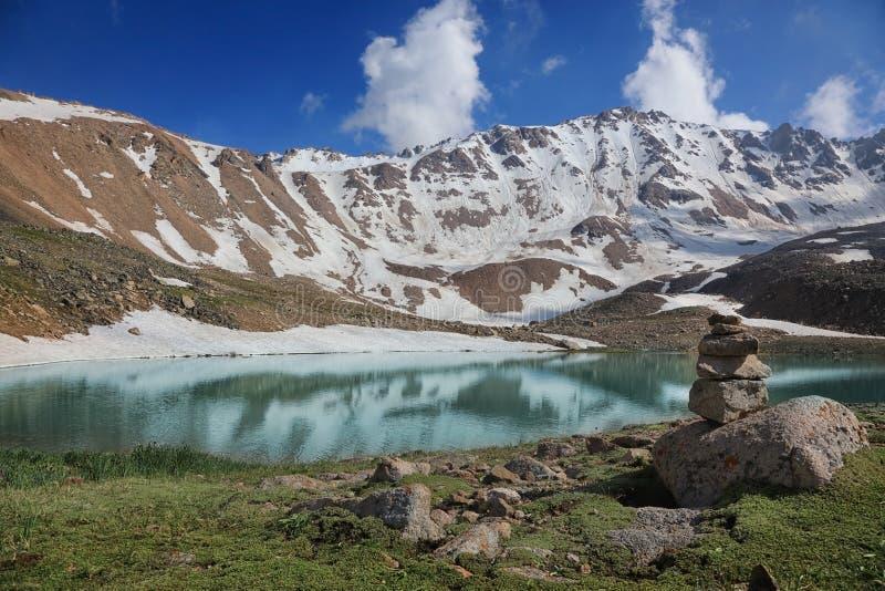 Titov peak and lake in Tian Shan mountains, Kazakhstan royalty free stock photos