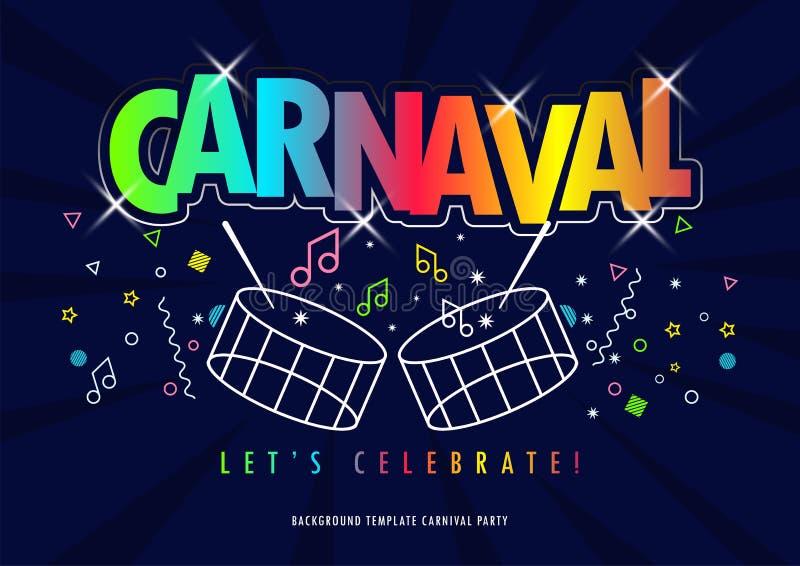 Titre de Carnaval avec les éléments colorés de partie illustration de vecteur