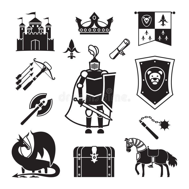 Titre de chevalier dans des icônes de Moyens Âges illustration de vecteur