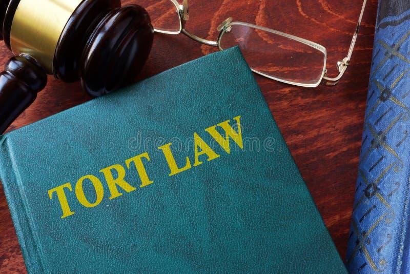 Titre de loi d'acte délictuel sur un livre et un marteau photographie stock libre de droits