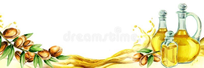 Titre horizontal d'argan watercolor illustration stock