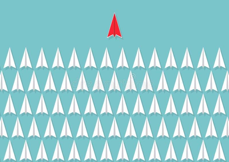 Titre plat de papier rouge des avions blancs, concept de direction d'affaires illustration de vecteur
