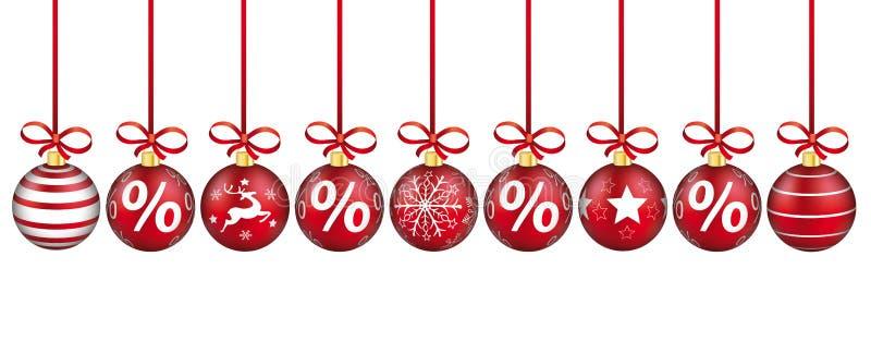 Titre rouge de pour cent de rubans de babioles rouges de Noël illustration stock