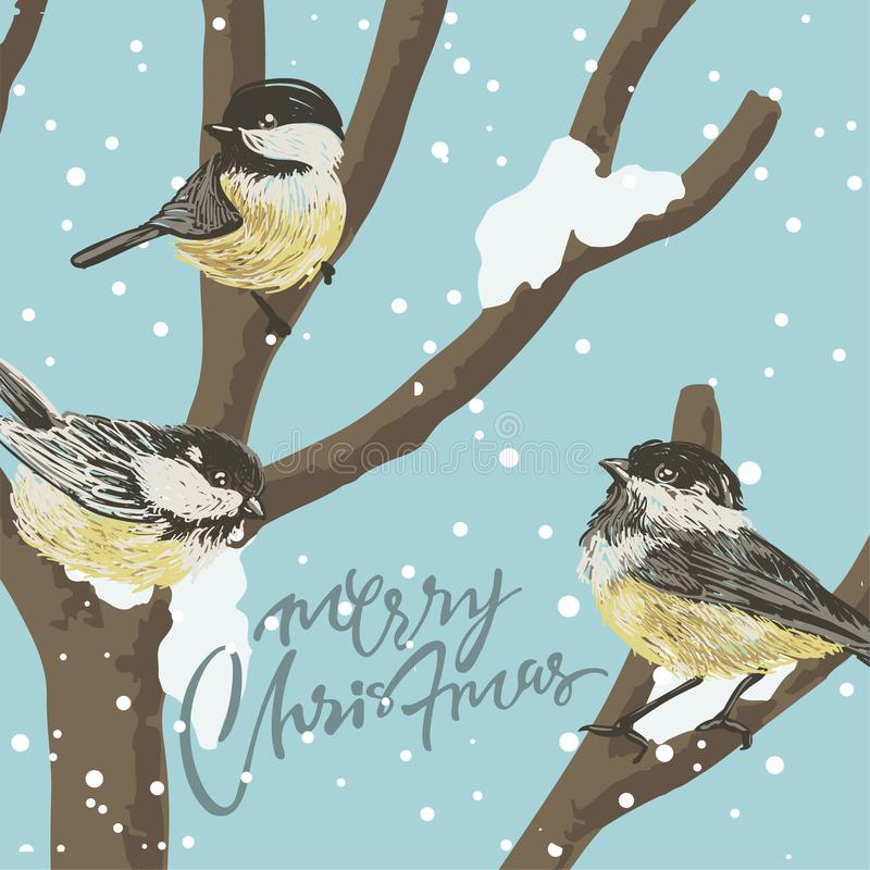 Funny Tits and bird feeder on winter tree under the snowfall. Vector Christmas card. For Christmas decoration, posters, banners, royalty free illustration
