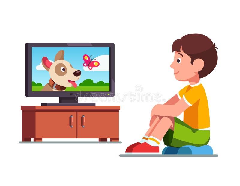 Titta på film på TV om hund och fjäril stock illustrationer