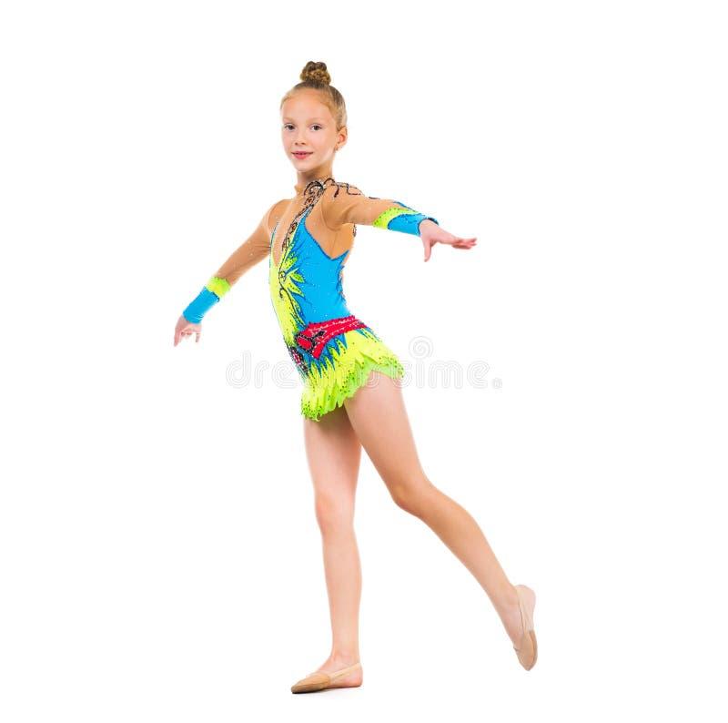 Tittle gimnastyczka robi ćwiczeniu obrazy royalty free