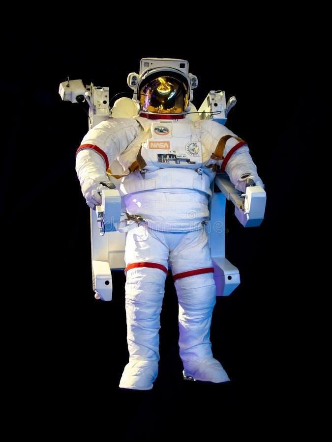 TITUSVILLE FLORIDA - AUGUSTI 22, 2018: Kennedy Space Center Enhet för rörlighet för astronautNASA extravehicular arkivbild