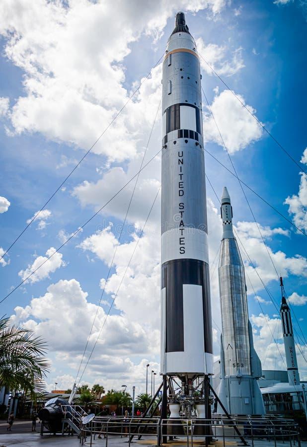 TITUSVILLE FLORIDA - AUGUSTI 22, 2018: NASA Rocket Garden royaltyfria foton