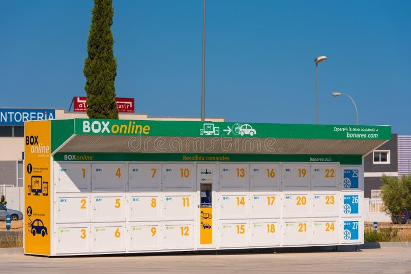 TIVISSA, TARRAGONA, SPAIN - MAY 31, 2017: Supermarket `BonArea` Boxes for shopping online. Copy space for text.  stock photo