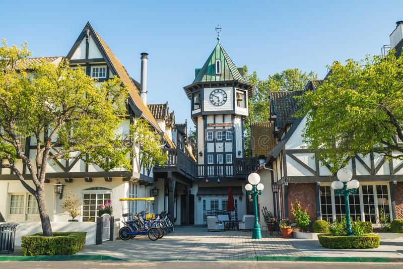 Tivoli Square Clock Tower in Solvang, a City in Southern California`s Santa Ynez Valley. The City Has Known for its Traditional Da stock photos