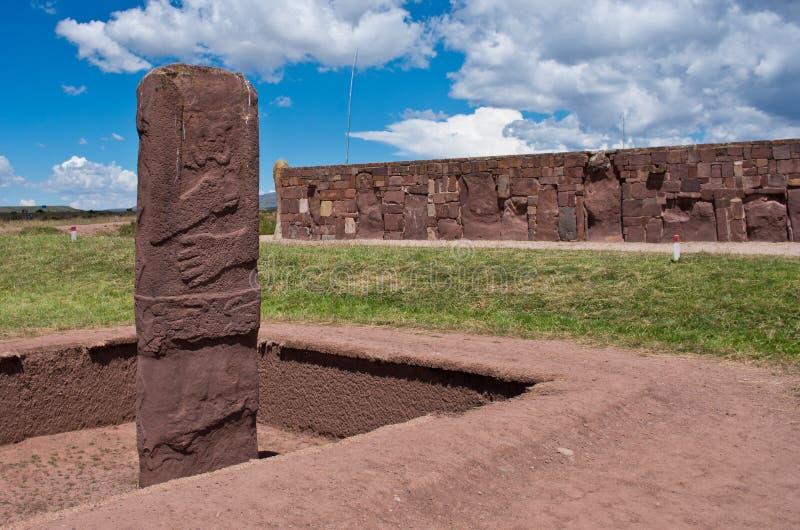 Tiwanaku Fördärvar i Bolivia, arkivfoton