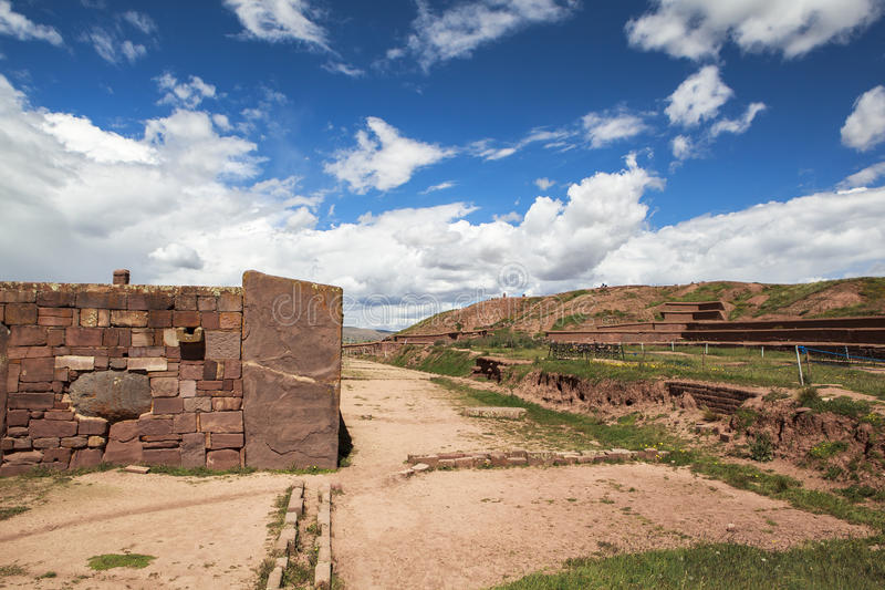 Tiwanaku Heritage in Bolivia. This photo is taken in Bolivia. Tiwanaku Spanish: Tiahuanaco or Tiahuanacu is a Pre-Columbian archaeological site in western royalty free stock photos