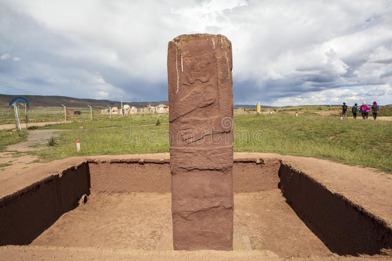 Tiwanaku Heritage in Bolivia. This photo is taken in Bolivia. Tiwanaku Spanish: Tiahuanaco or Tiahuanacu is a Pre-Columbian archaeological site in western stock images