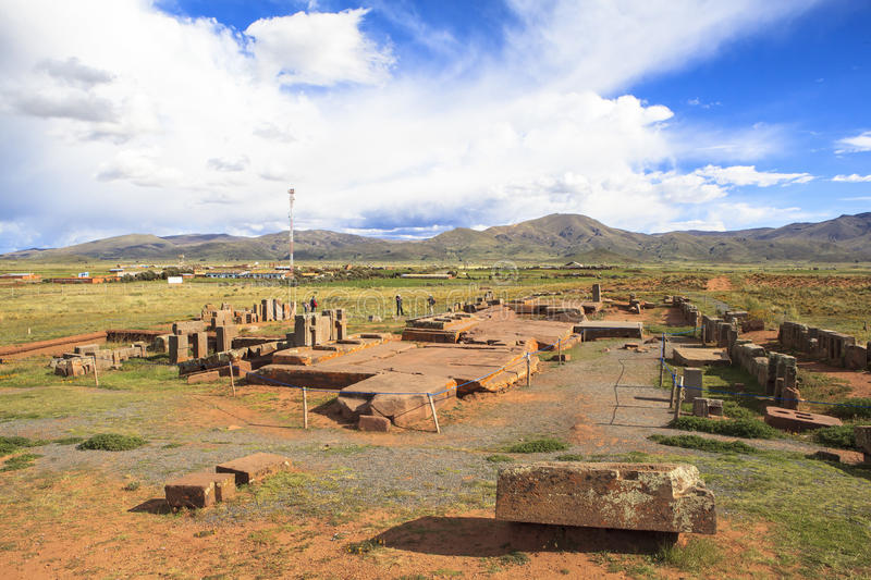 Tiwanaku Heritage in Bolivia. This photo is taken in Bolivia. Tiwanaku Spanish: Tiahuanaco or Tiahuanacu is a Pre-Columbian archaeological site in western stock photo