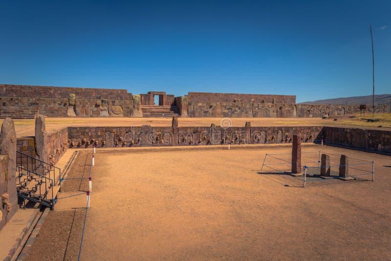 Tiwanaku - July 27, 2017: Ruins of the ancient city of Tiwanaku, Bolivia royalty free stock photos