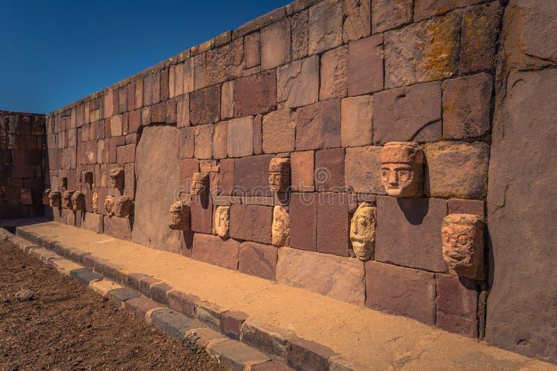 Tiwanaku - July 27, 2017: Ruins of the ancient city of Tiwanaku, Bolivia royalty free stock image
