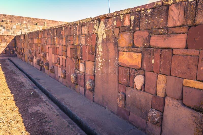 Tiwanaku - July 27, 2017: Ruins of the ancient city of Tiwanaku, Bolivia stock photography