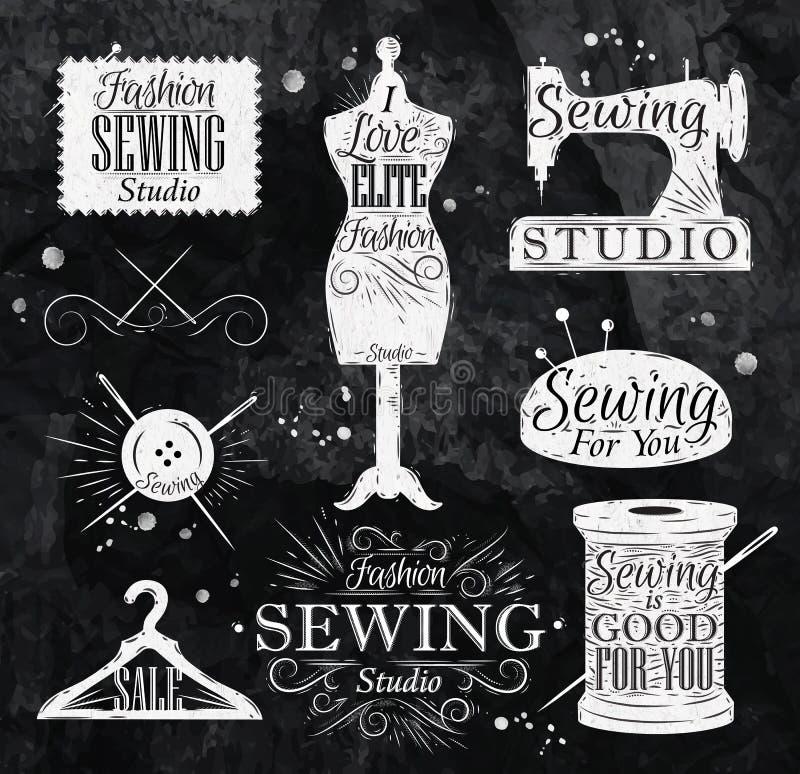 Tiza de costura del símbolo stock de ilustración