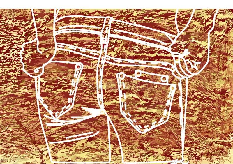 Tiza de dibujo en un marrón de la tela del dril de algodón stock de ilustración