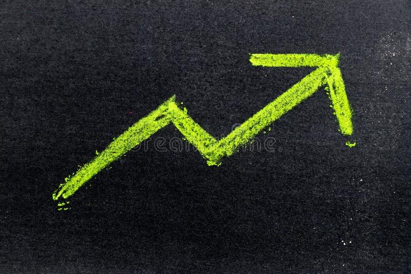 Tiza de dibujo de la mano del color verde en flecha encima de la forma en tablero negro imagen de archivo libre de regalías