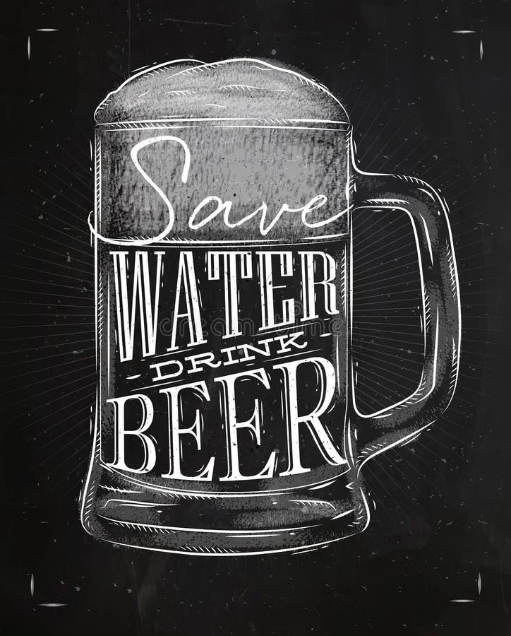 Tiza de la cerveza de la bebida del cartel libre illustration