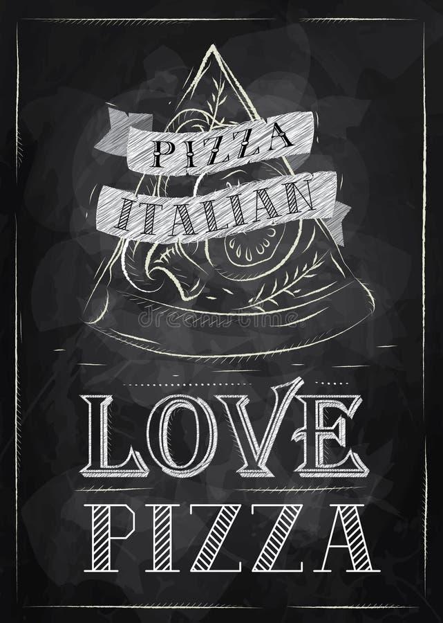 Tiza de la pizza del cartel stock de ilustración