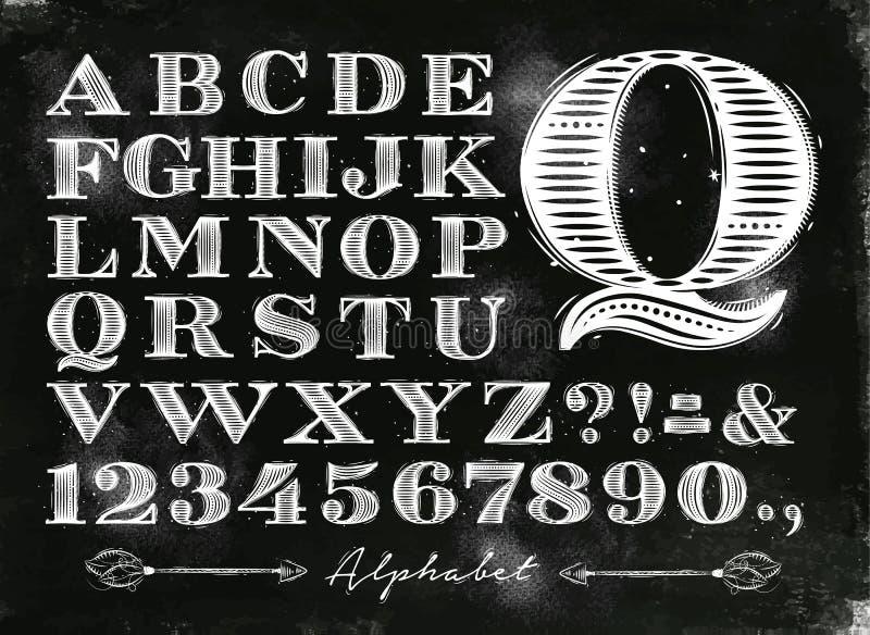 Tiza del alfabeto del vintage stock de ilustración
