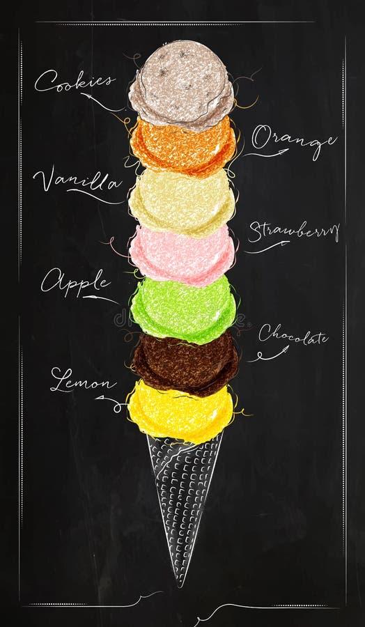 Tiza del menú del helado stock de ilustración