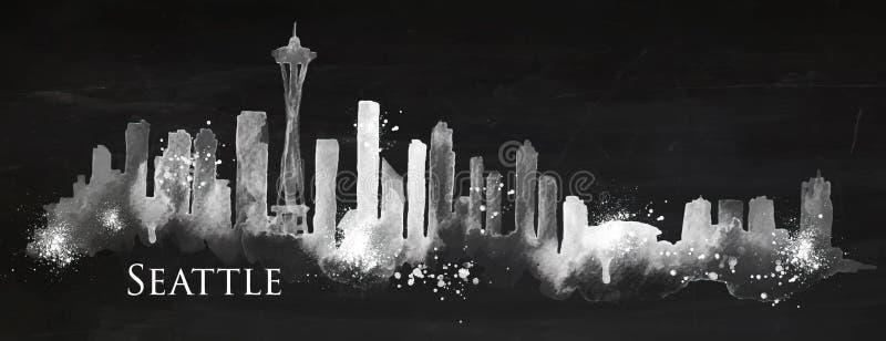 Tiza Seattle de la silueta ilustración del vector