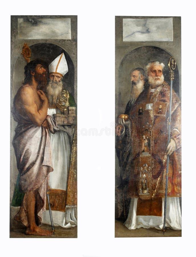 Tiziano Vecellio : St Lazarre, St Blaise, Saint-Nicolas et St Anthony photo stock