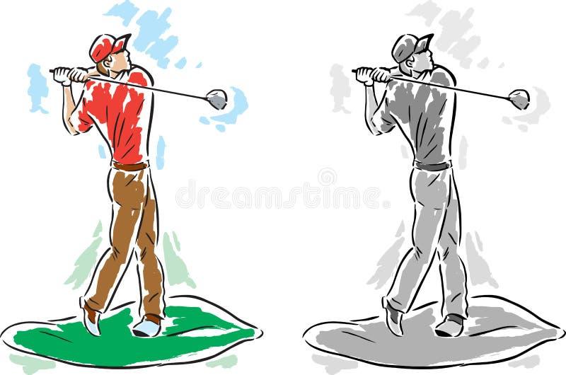 Tizio stilizzato del giocatore di golf illustrazione di stock