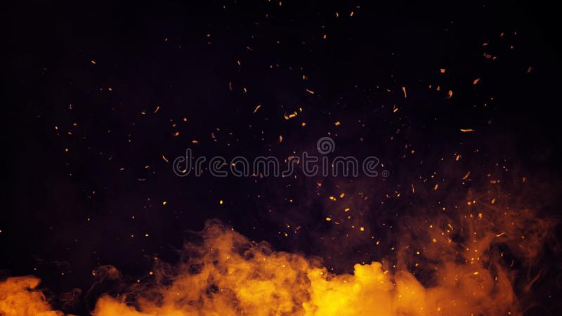 Tizzoni delle particelle del fuoco di Perftect su fondo sovrapposizioni nebbiose di struttura della nebbia del fumo fotografia stock libera da diritti
