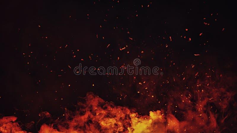 Tizzoni delle particelle del fuoco di Perftect su fondo sovrapposizioni nebbiose di struttura della nebbia del fumo fotografie stock libere da diritti