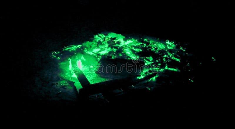 Tizzoni di ardore artistici di verde smeraldo fotografia stock