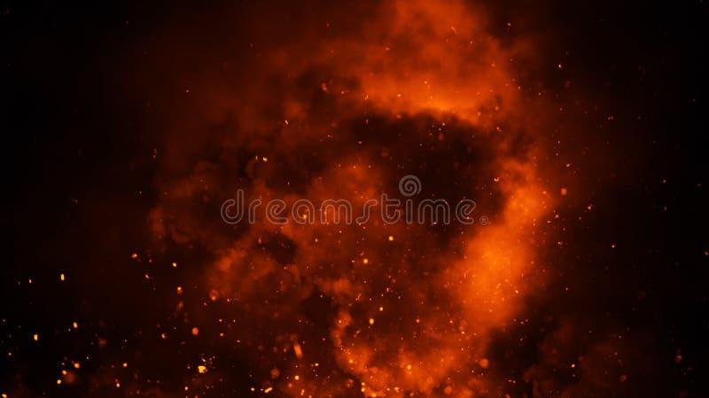 Tizzoni perfetti delle particelle del fuoco su fondo sovrapposizioni nebbiose di struttura della nebbia del fumo Elemento di dise fotografia stock libera da diritti
