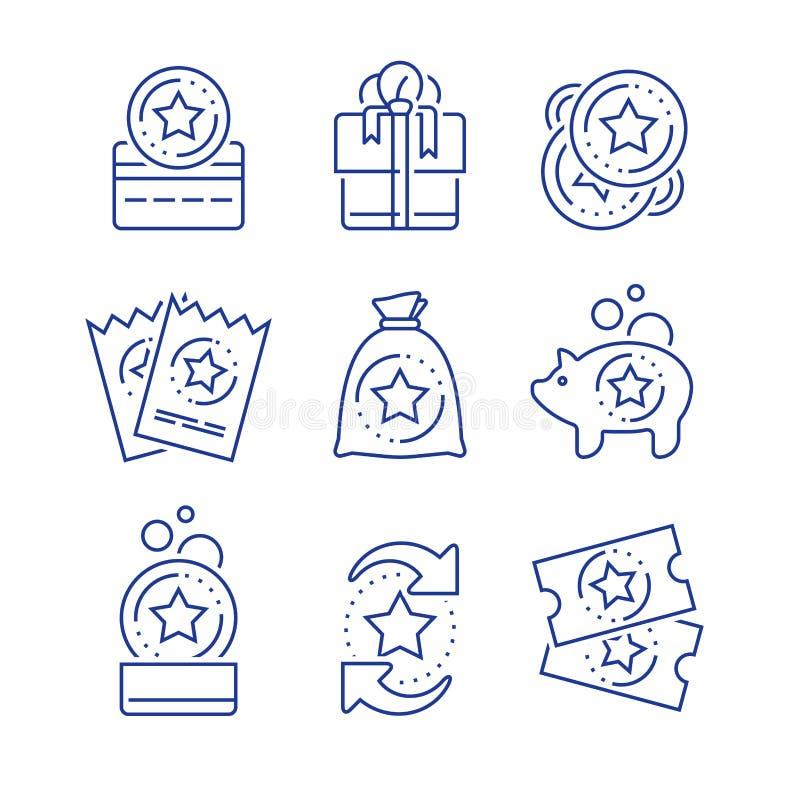 Tjäna belöning, lojalitetincitament, bonuskort, friköpa gåvan, rabattkupongen, mot efterkrav mynt, segergåva, lottsedeln, linjen  stock illustrationer