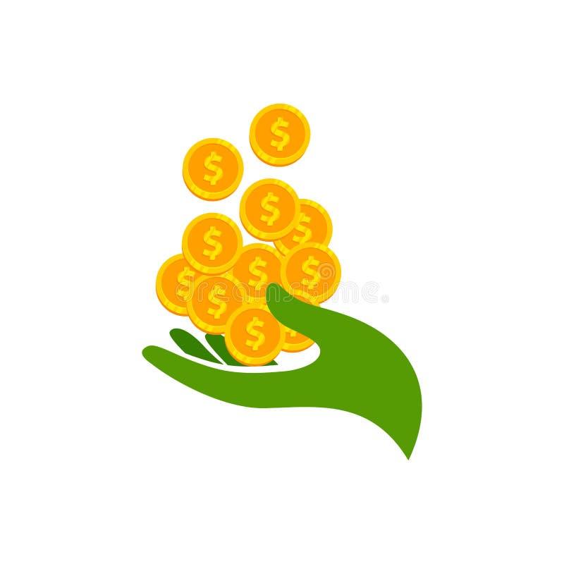 Tjäna designen för symbolen för pengarvektorlogoen sparande pengarsymboldesign med handillustrationen vektor illustrationer