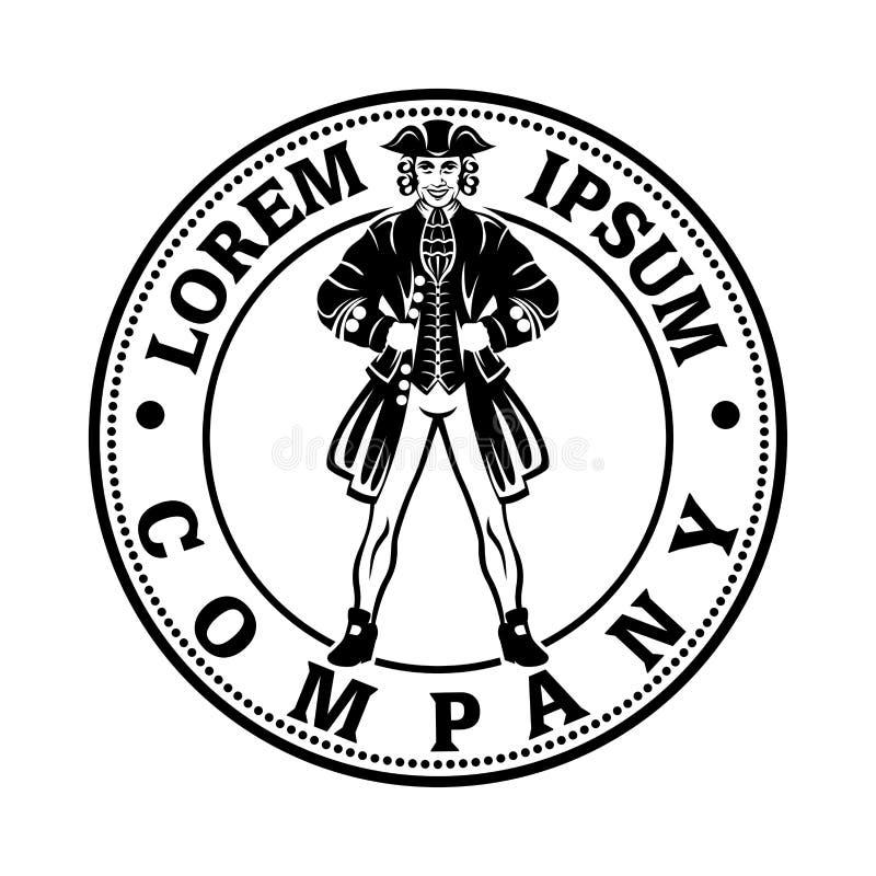 Tjäna som soldat en revolutionär logo också vektor för coreldrawillustration royaltyfri illustrationer