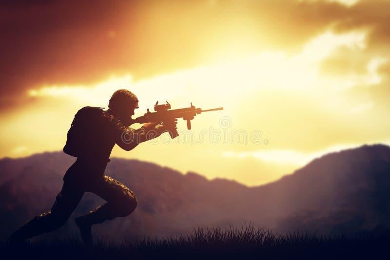 Tjäna som soldat i stridskytte med hans vapen, gevär Krig armébegrepp royaltyfri fotografi