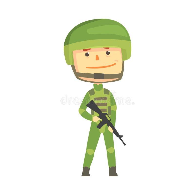 Tjäna som soldat teckenet i kamouflagelikformig med den automatiska illustrationen för vektorn för tecknade filmen för anfallgevä royaltyfri illustrationer