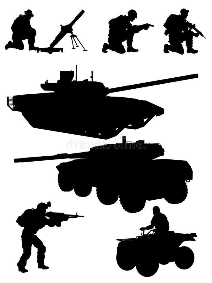 Tjäna som soldat vektorkonturarmén royaltyfri illustrationer