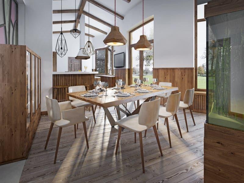 Tjänad som tabell för åtta i matsalen i vinden med höjdpunkt royaltyfri bild