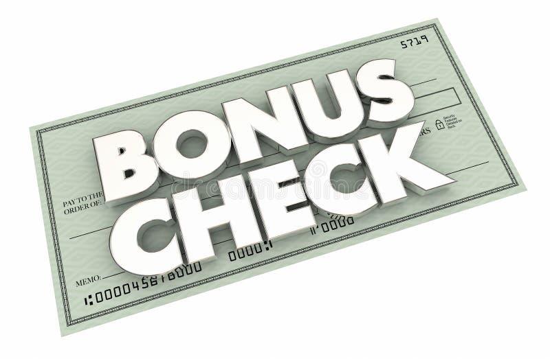 Tjänade extra extra pengar för bonuskontrollen lönebeskedet 3d Illustrati stock illustrationer