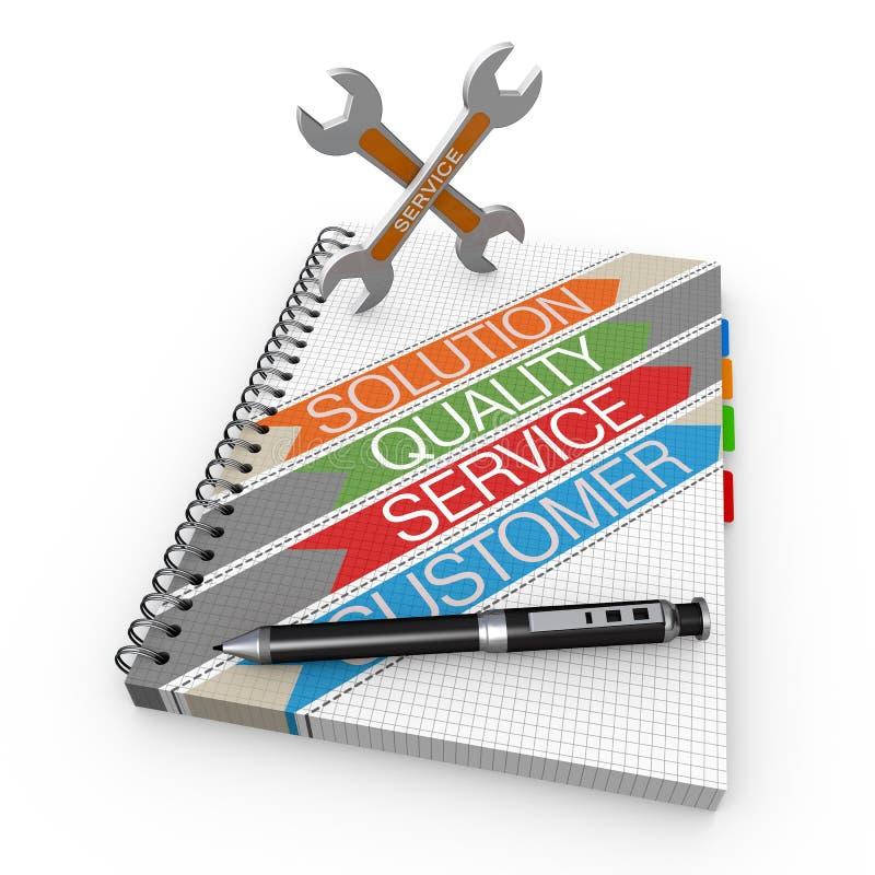 Tjänste- begrepp för anteckningsbok stock illustrationer